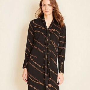 Ann Taylor Chain Print Tie Neck Shift Dress